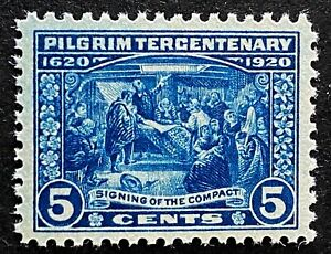 US Stamp, Scott #550 5c 1920 Pilgrim Issue 2019 PSAG Cert - GC XF 90  M/NH Fresh