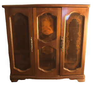 vintage wood jewelry armoire antique hand crafted