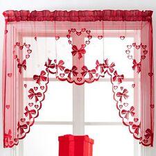 Christmas Heart Jardiniere Net Curtain Red Slot Top Ready Made Window Panel