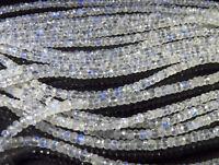 "Blue Flash Arco Iris Facetado 3.75-4 mm Rondelle Perlas Natural 10/"" Strand"