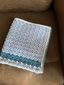 Handmade crochet baby blanket/car seat/pram/crib Shades Of Blue Sparkly Cluster