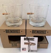 BenShot 11 oz Rocks Glass Bullet Etched SPECIAL OPERATIONS ASSOCIATION Set of 2