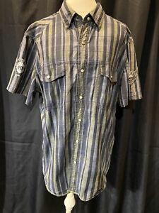 Harley Davidson Shirt-Snap Men XL-Cotton-Blk/Gray Stripe-Sh Sleeve
