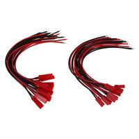 10 Paar JST BEC Stecker/Buchse mit Kabel 100mm Schwarz Rot in Modellbau