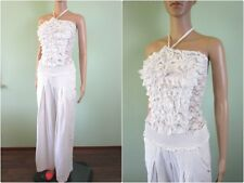 Fashion Blogger White Sexy Party Ruffle Playsuit Jumpsuit Dungaree Linen AW48