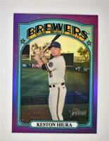 2021 Heritage Base Chrome Hot Box Purple #177 Keston Hiura - Milwaukee Brewers