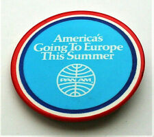 1970s Pan Am Airline America's Going to Europe This Summer Button Pin Nos New