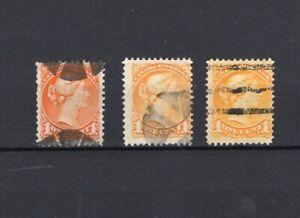 Canada - 1c Small Queen Issue - Early Shade / Cork / Precancel - Trio of Stamps