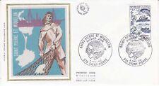 Enveloppe maximum 1er jour FDC Soie 1982 Outre Mer Saint Pierre de Miquelon