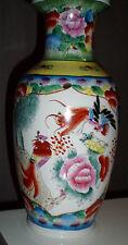 Japan Chinese Vase Blumen Vogel Motiv Gold verziert Chinesische Vase Bodenvase
