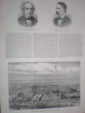 L'ESPOSIZIONE delle industrie scandanavian Copenaghen 1888 Old print