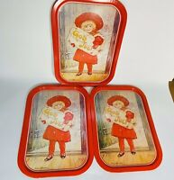Lot of 3 Swedish Vintage Tin Trays Jenny Nyström God Jul Girl with Gift Red Tray