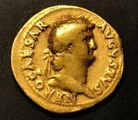 ANCIENT ROMAN GOLD COIN; NERO GOLD AUREUS 54-68 A.D.; SCARCE COIN!