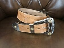 Vtg Leather Tooled Western Belt Stamped Buckle & Tip Women's 34/85 Made in Usa