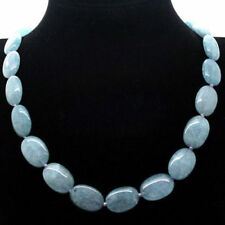 "Natural 13x18mm Brazilian Aquamarine Gemstones Oval Beads Necklace 25"" JN1063"