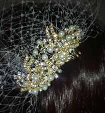 "Brides Ivory birdcage veil 9"" with pearl and diamante comb fascinator #22"