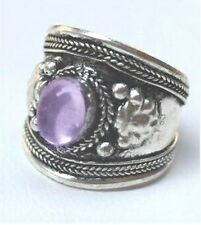 old Tibet Silver Ring Pretty Purple Crystal Stone Adjustable Religion one ring
