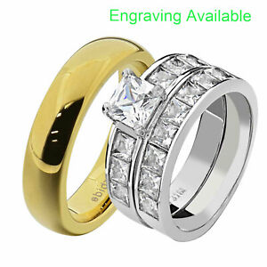 His & Hers Stainless Steel Princess CZ Wedding Ring Sets Tungsten Men Band EU