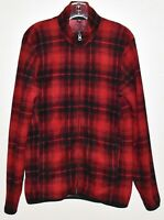UNIQLO Women's Red And Black Plaid Long Sleeve Fleece Sweater Jacket Size (M)