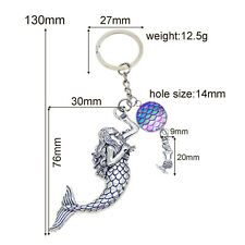 New Key Rings Vintage Silver Colorful Mermaid Fish Scale Cameo Metal Keychains