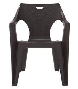 Duramax Duke Plastic Garden Chair with Armrest Weatherproof & Stackable, Brown