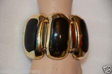 Kenneth Jay Lane Black Gold Leaf Stretch Bracelet