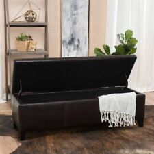 Faux Leather Storage Ottoman Bench - Brown
