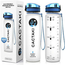 Sports Water Bottle with Time Marker, 1 liter / 32 Oz, Large, BPA Free, Flip Top