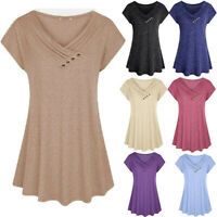 Womens Short Sleeve V Neck Loose T Shirt Solid Shirt Casual Tunic Tops Blouse US