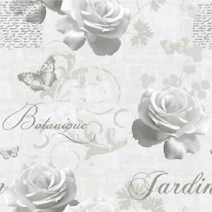 Muriva Botanical Garden Wallpaper Silver Grey Script Floral Butterfly Rose Light