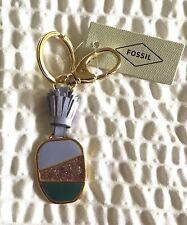 Fossil Pineapple Heart Key Fob/Ring- lilac green- silver glitter- tassel