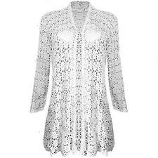 Womens Ladies Waterfall Lace Crochet Bolero Drape Long Cardigan Plus Sizes Top