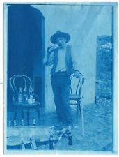 Photo vintage mexican cyanotype c.1906 un grand buveur musicien alcool - Mexique