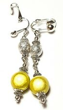 Long Silver Yellow Clip-On Earrings Drop Dangle Miracle & Sparkle Bead Artisan