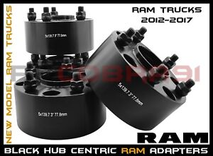 """2012-2019 Ram 1500 3"""" Thick Black Hub Centric Wheel Spacers Adapters Heavy Duty"""