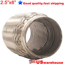 "304 Stainless 2.5""x 6"" Flexi Pipe Flexible Exhaust Stub Internal Corrugated Pipe"
