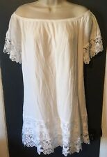 Charlotte Russe White Cold Off Shoulder Crochet Trim Tunic Blouse Size Large