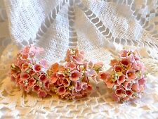 VINTAGE MILLINERY FORGET-ME-NOT FLOWERS PINK HAT DOLL CRAFT STEMS BOUQUET NOS