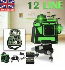 360° Rotary 3D Green Laser Level 12 Lines Self Leveling Cross Measure Tool SET
