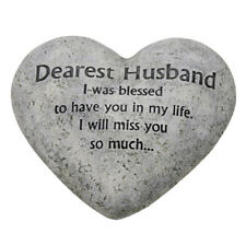 In Loving Memory Graveside Heart Plaque Stone - Dearest Husband Grave Memorial