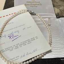 Mikimoto Pearl Necklace 5.4mm Japanese Akoya's Original Paperwork & Pouch L38cm