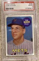 1969 Topps # 480 - TOM SEAVER - PSA 2 GOOD - HOF - New York Mets (0916)