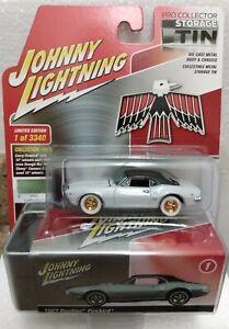 JOHNNY LIGHTNING 67 PONTIAC FIREBIRD PRO COLLECTOR STORAGE TIN WHITE LIGHTNING