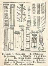 A6769 Colonne architettoniche - Stampa Antica del 1925 - Xilografia