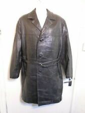 VINTAGE 60's MONGOLIAN LEATHER DUSTER TRENCH COAT JACKET SIZE XXL