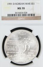 1991-D Korean War Memorial Commemorative Silver Dollar NGC MS70.