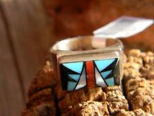 ring multi stones inlay 12 Sterling silver Navajo made mens
