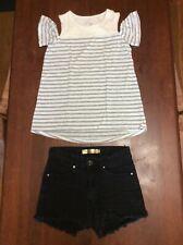 Cyn Black Denim Shorts Sz S Justice White & Gray Stripe Bare Shoulder Top Sz 10