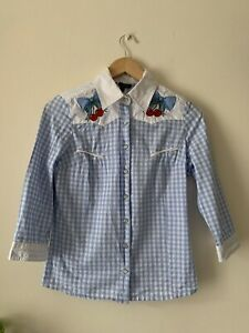 Hell Bunny Gingham Shirt With Embriodery Details - Size S