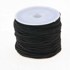 1 Roll 24m Long Black Round Elastic Beading Thread Cord 1mm LW